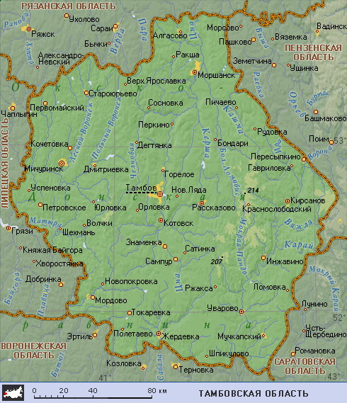 Где находится тамбов на карте россии